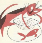Bill Charmatz illustration of a cat and fish in a bowl