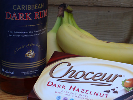 Bananas, rum and hazelnut chocolate bar, ingredients for a boozy chocolate muscovado banana cake | H is for Home