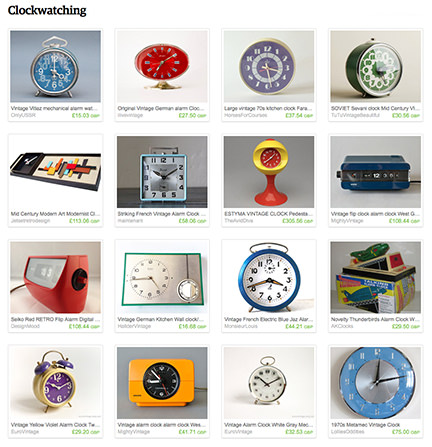 'Clockwatching' Etsy List' curated by H is for Home