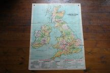 Vintage 'Communications' school wall map of the UK