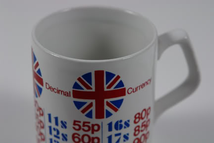Vintage decimal currency Staffordshire Potteries mug | H is for Home