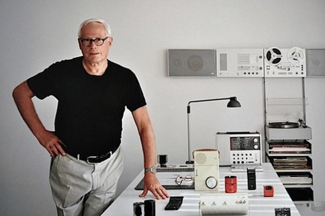 Portrait of Dieter Rams with some of his many designs