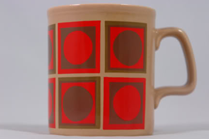 Vintage Staffordshire Potteries mug with orange & brown op-art pattern | H is for Home