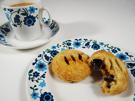 Home-made Eccles cakes with cup of tea | H is for Home