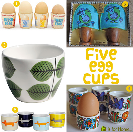 Selection of five egg cups