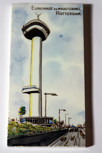 vintage 1950s ceramic tile of the Euromast in Rotterdam | H is for Home