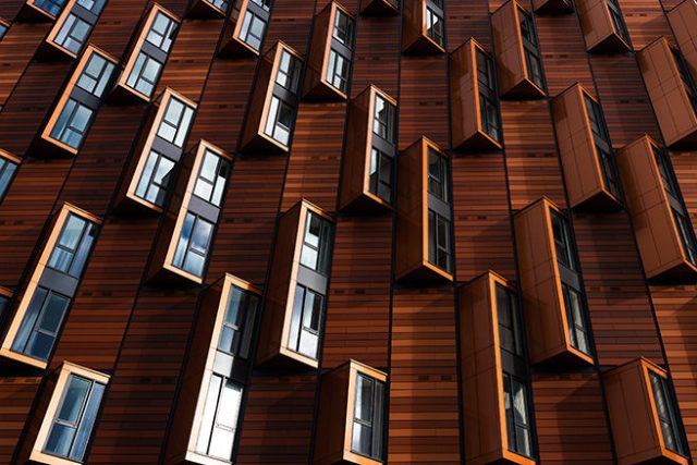 Exterior wall cladding on an apartment building