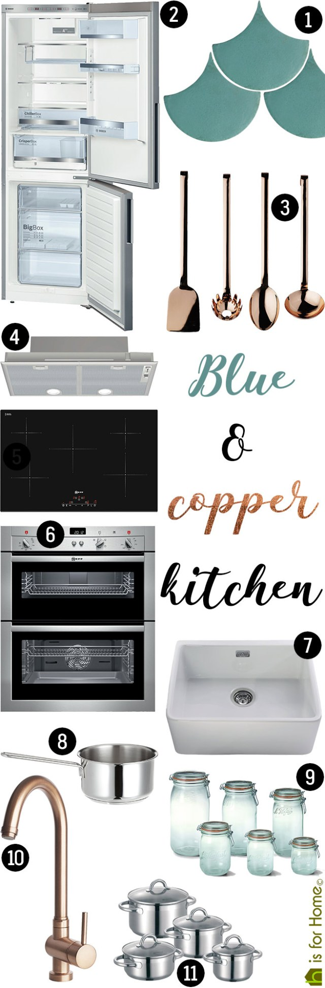 Get their Look: Blue & copper kitchen | H is for Home