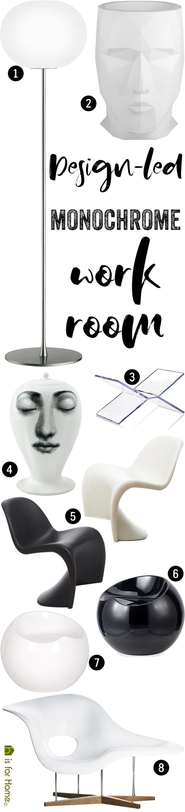 Get their look: Design-led monochrome work room | H is for Home