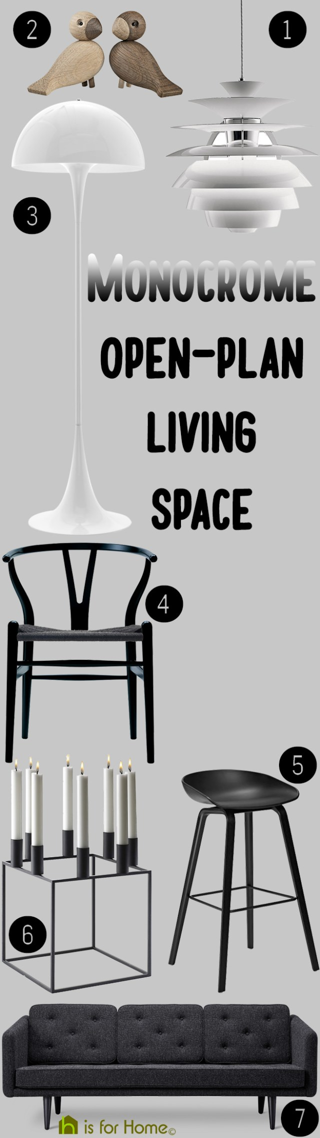 Get their look: Monochrome open-plan living space | H is for Home