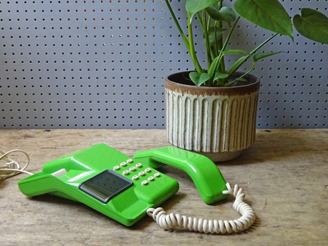 Green vintage 1980s Viscount telephone and Swiss cheese plant | H is for Home