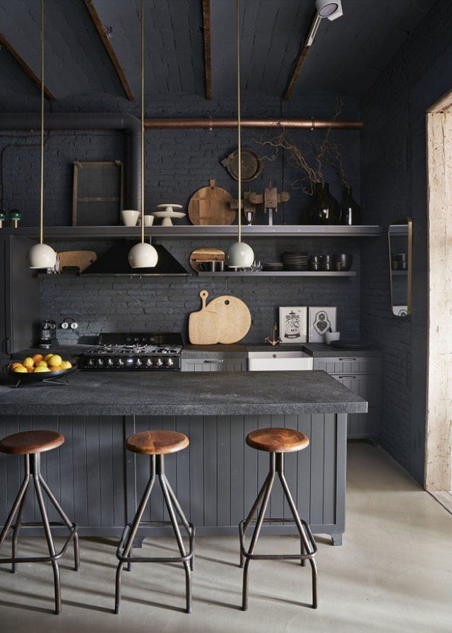 Grey industrial kitchen