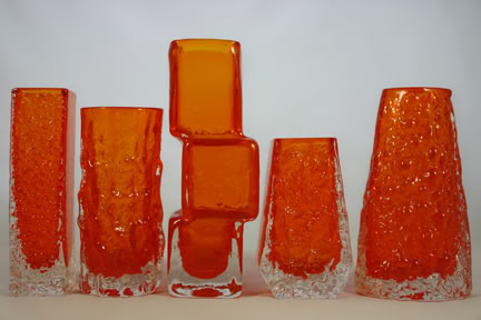 Group of tangerine vintage Whitefriars glass vases designed by Geoffrey Baxter | H is for Home