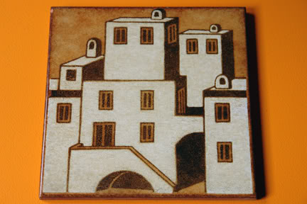 vintage Italian ceramic tile depicting whitewashed buildings | H is for Home