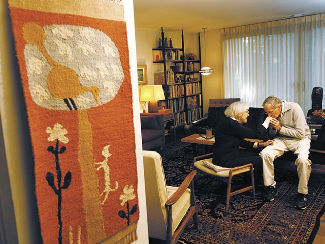 Jerome & Evelyn Ackerman in their home