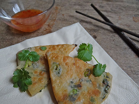 Sliced jiucai you bing or scallion pancake with chilli, garlic, ginger sweet dipping sauce | @hisforhome