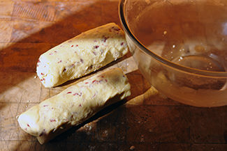 Home-made macadamia nut & cranberry cookie dough batons | H is for Home