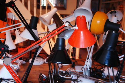 Multicoloured collection of vintage Anglepoise lamps | H is for Home