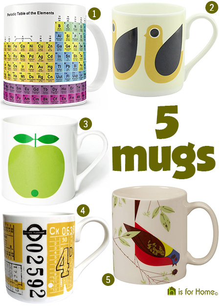 selection of 5 ceramic mugs