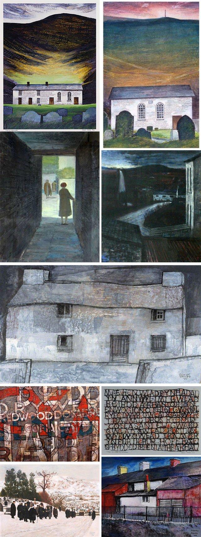 Montage of Ogwyn Davies artworks