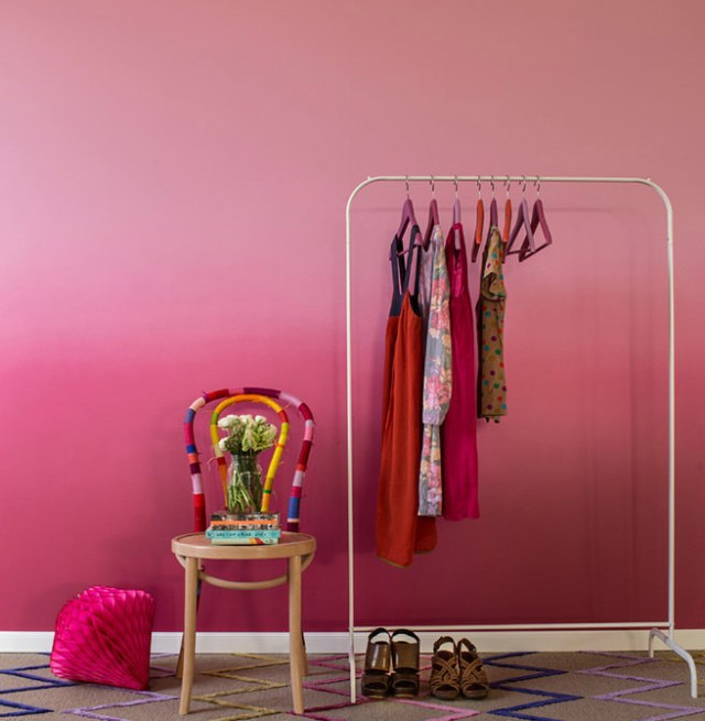 Pink ombré bedroom wall