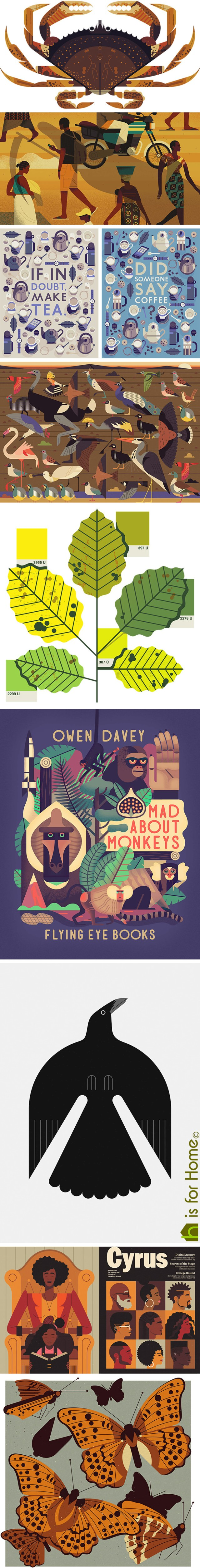 Mosaic of Owen Davey illustrations | H is for Home