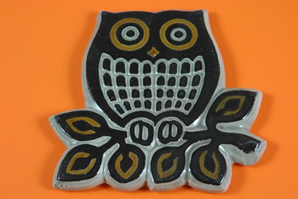 Vintage pottery owl plaque | H is for Home