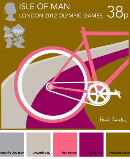 Isle of Man commemorative stamp depicting a bicycle designed by Paul Smith for the London 2012 Olympic Games