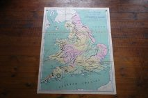 Vintage 'Physical' school wall map of England & Wales