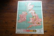 Vintage 'Population' school wall map of the UK