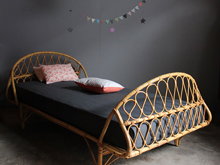 vintage French rattan bed