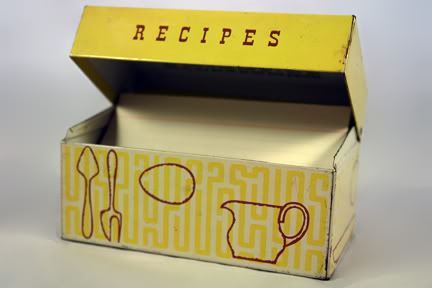 Vintage tin box for recipe cards | H is for Home