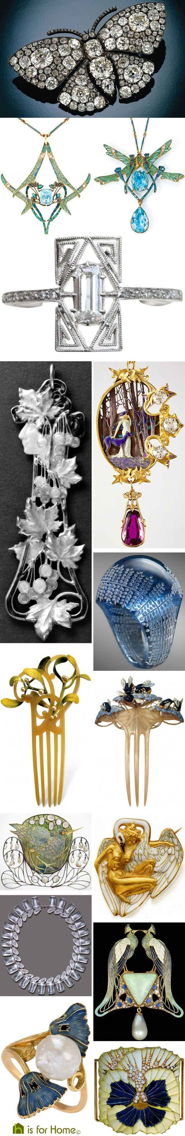Mosaic of René Lalique jewellery designs | H is for Home