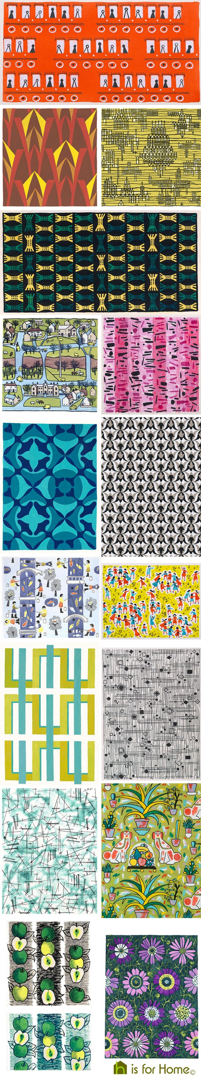 Mosaic of Sheila Bownas textile designs | H is for Home