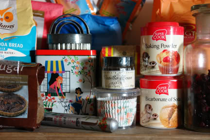Larder shelf with vintage tins and baking ingredients | H is for Home