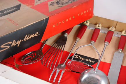set of red vintage skyline utensils | H is for Home
