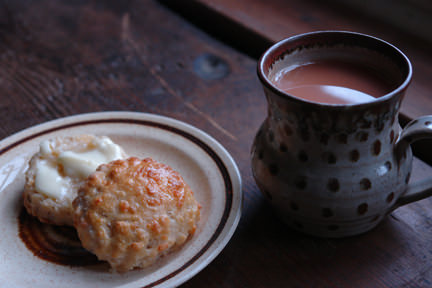 Sourdough cheese scones with a mug of tea | H is for Home