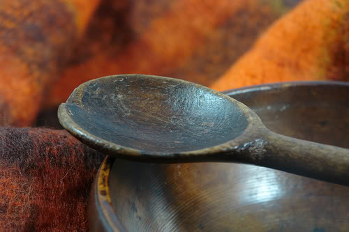 antique wooden dairy bowl and spoon | H is for Home
