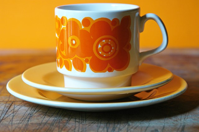 Vintage Staffordshire Potteries trio with orange flower design | H is for Home