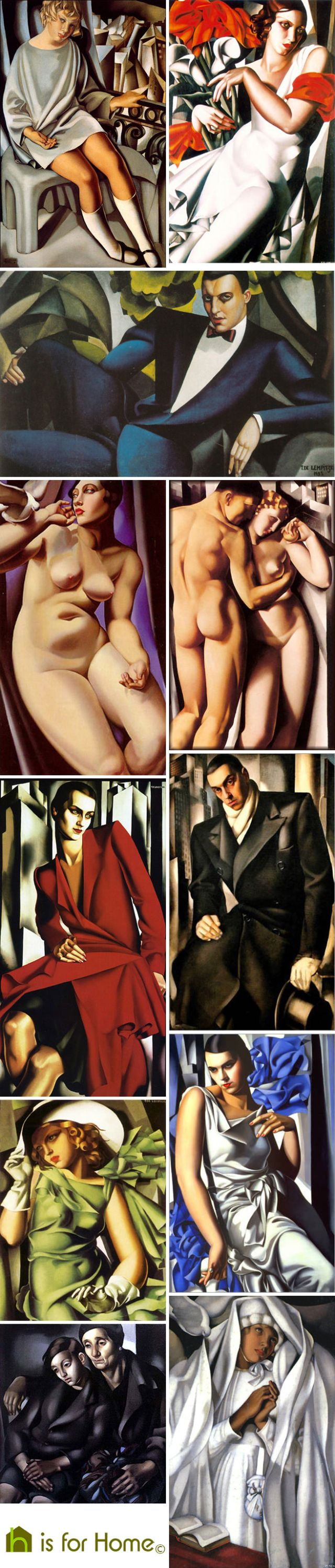 Mosaic of Tamara de Lempicka artworks | H is for Home