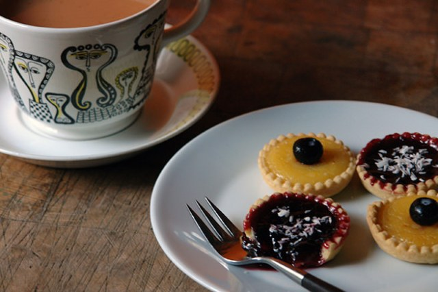 Home-made lemon curd and fruit jelly tarts with a cup of tea | H is for Home