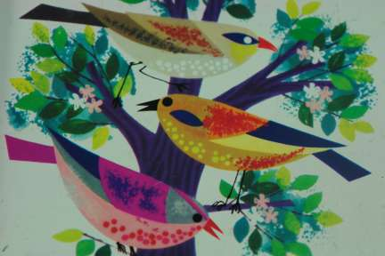 Detail of birds taken from a vintage tin | H is for Home