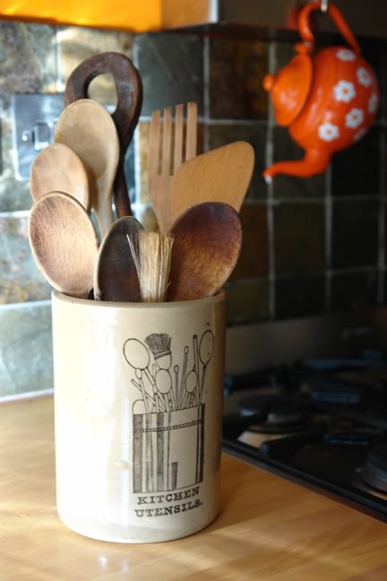 vintage stoneware utensil jar with utensils | H is for Home