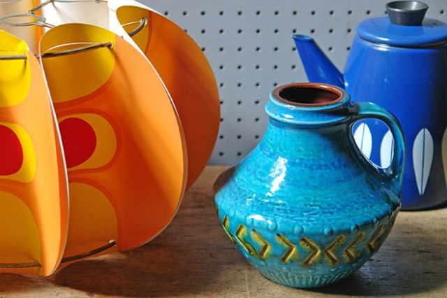 Trio of vintage homewares: Orange plastic pop art lampshade, Blue Carstens West German pottery vase, Blue Cathrineholm Lotus enamel coffee pot | H is for Home