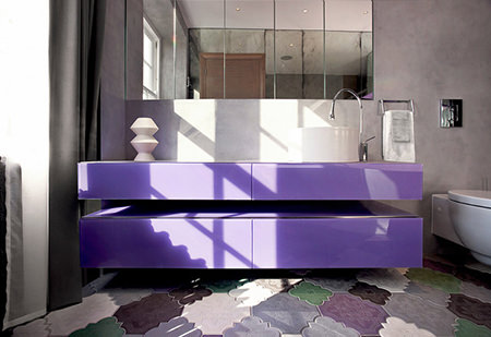violet bathroom sink and cabinet