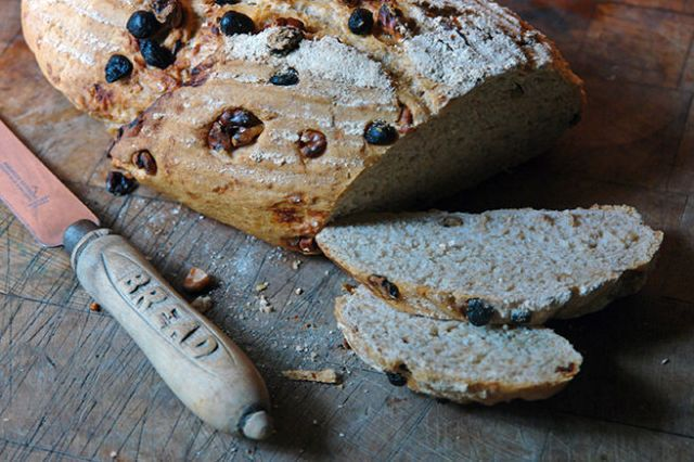 Sliced, home-made walnut and sultana loaf | H is for Home