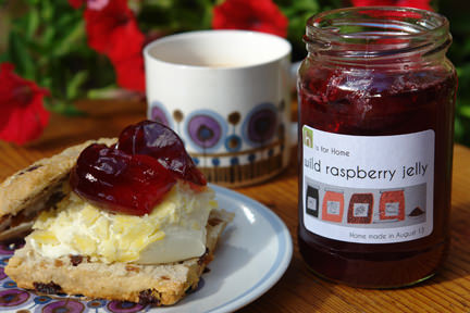 Jar of home made wild raspberry jelly with scone & clotted cream | H is for Home