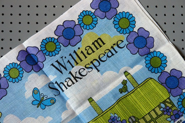 Detail of a vintage William Shakespeare tea towel | H is for Home