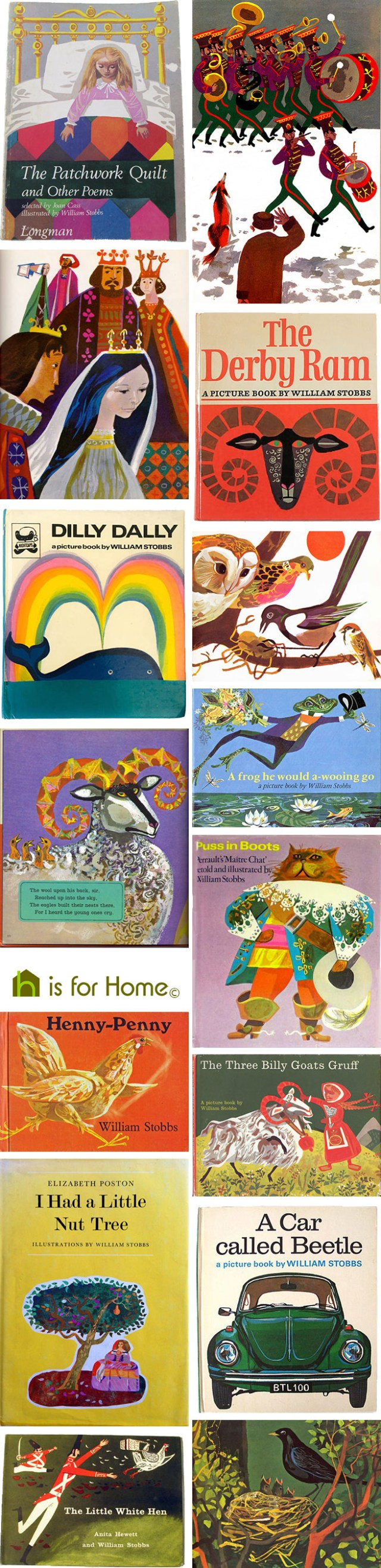 Mosaic of William Stobbs children's book illustrations | H is for Home