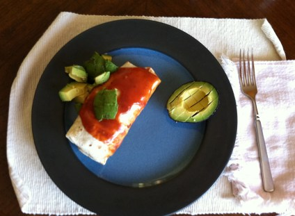 bean and rice burrito with avocados